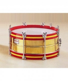 "BRASS SHELL DRUM 35,5 Ø x 18 cm.  (14"" Ø x 7""). Chromed rods."